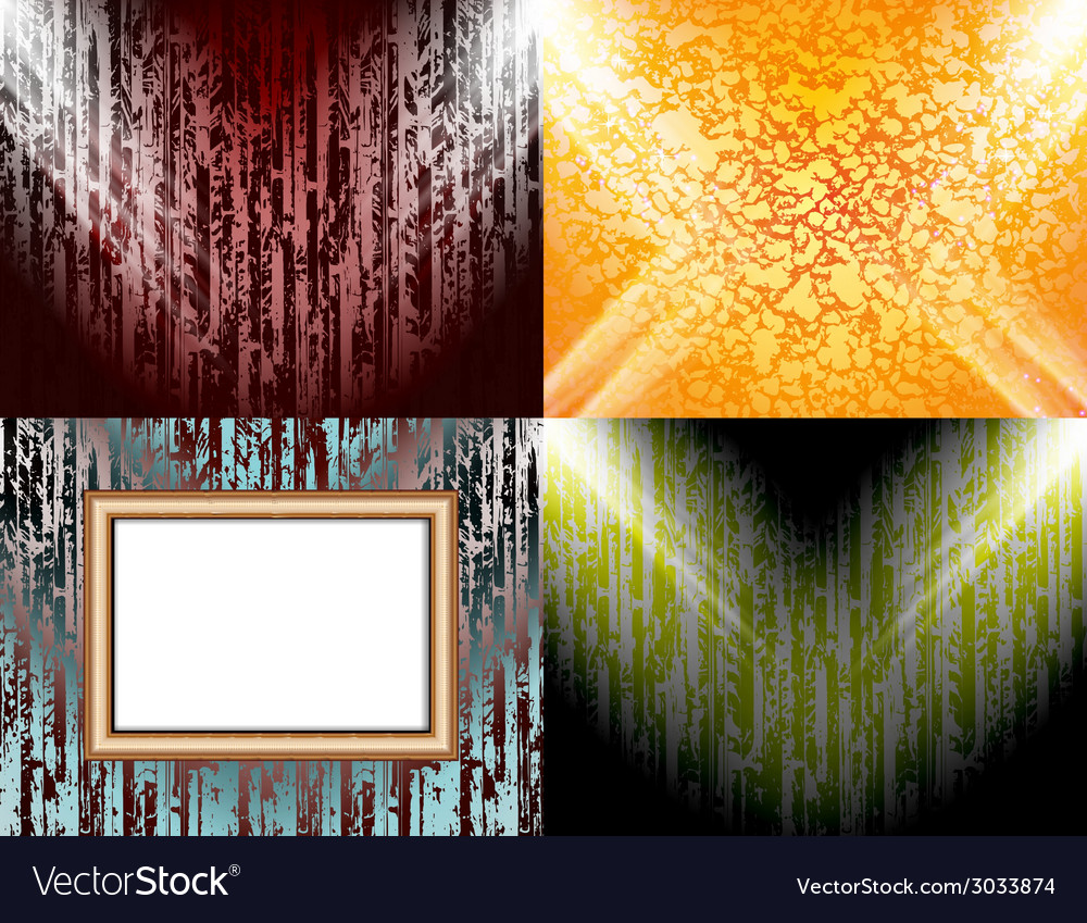 Set of Blank frame on a color wall lighting