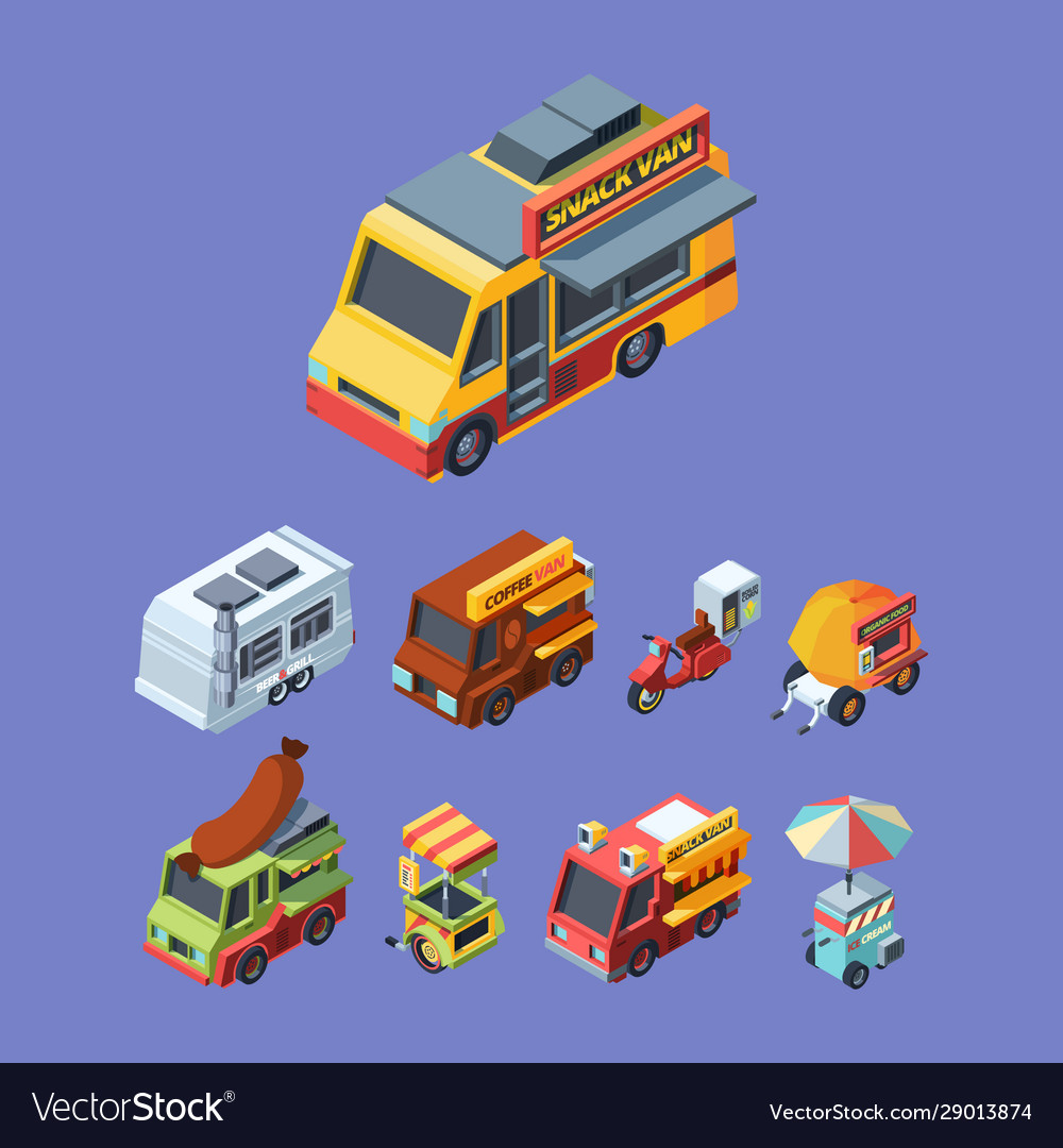 Snack trucks colorful isometric
