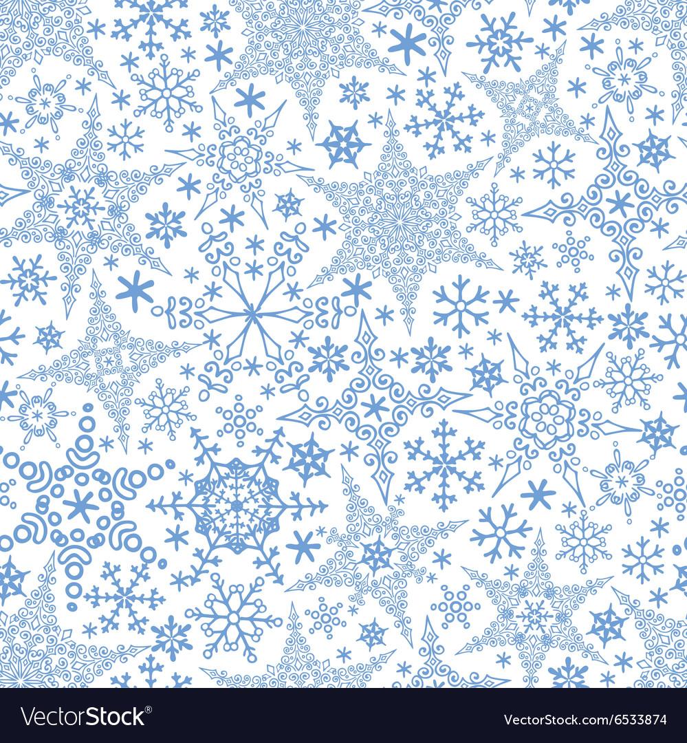 Snowflakes seamless patternWinter crystal stars
