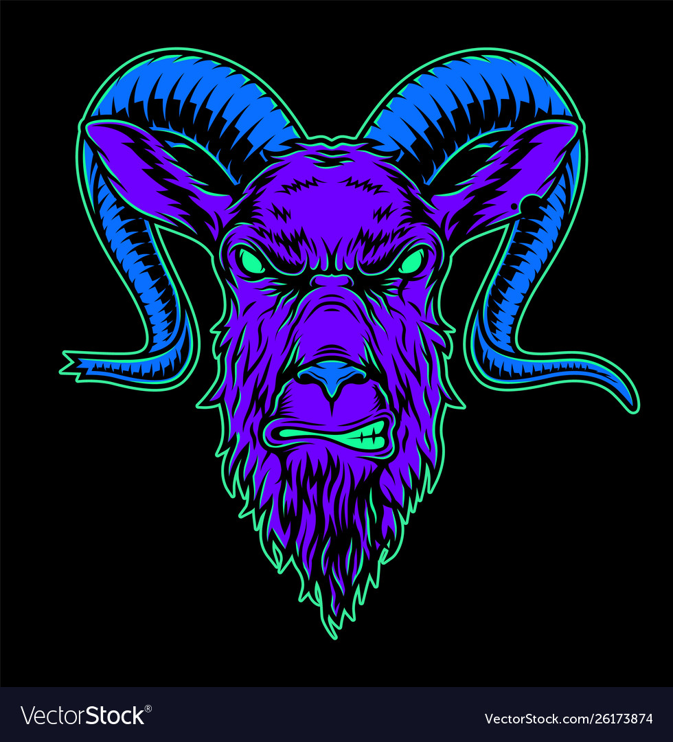 Vintage angry goat head colorful concept