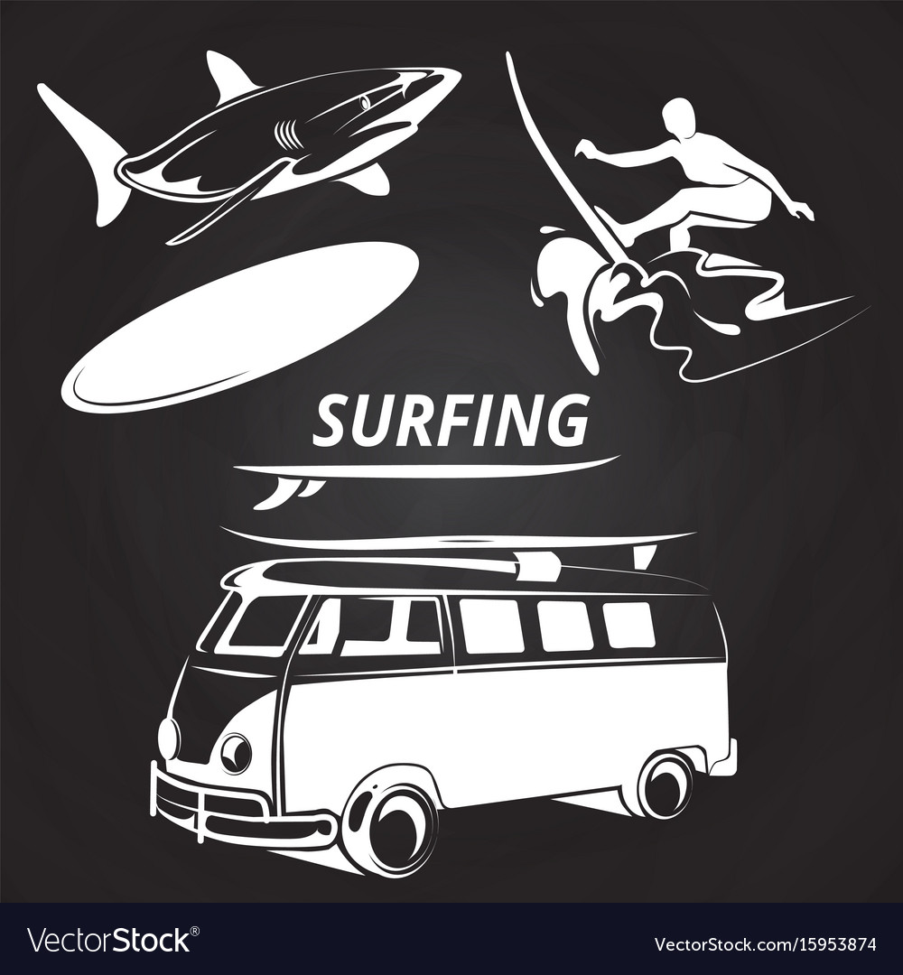 Vintage surfing elements on chalkboard design