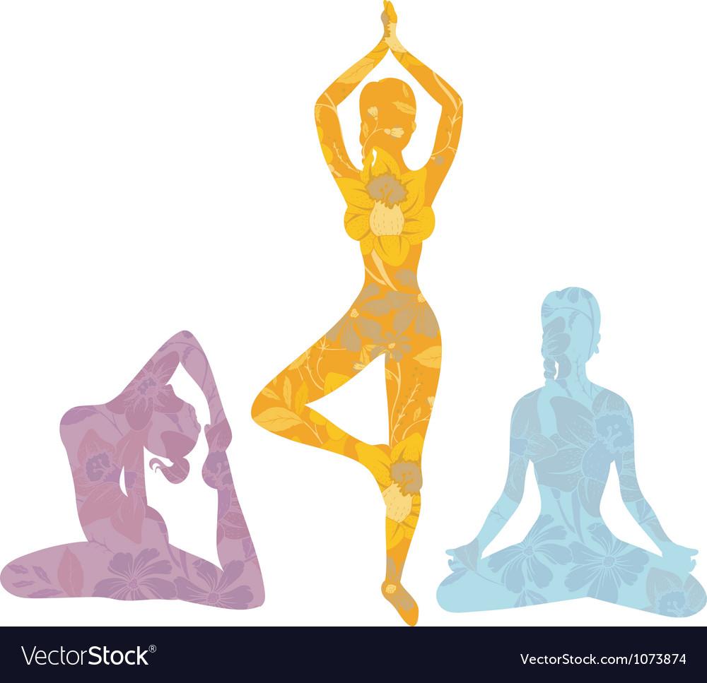 Yoga girls vector image