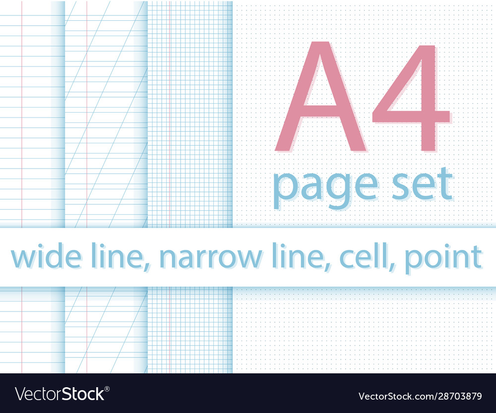 A4 page dots lines cell for notebook layout