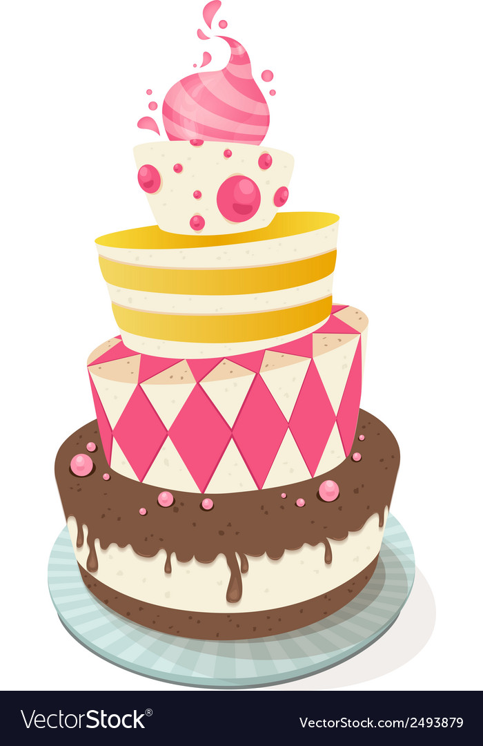 Miraculous Birthday Cake Royalty Free Vector Image Vectorstock Personalised Birthday Cards Veneteletsinfo
