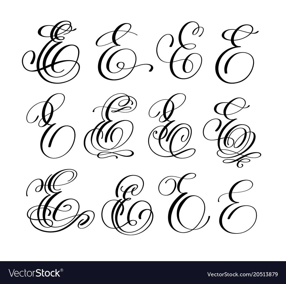Calligraphy Lettering Script Font E Set Vector Image
