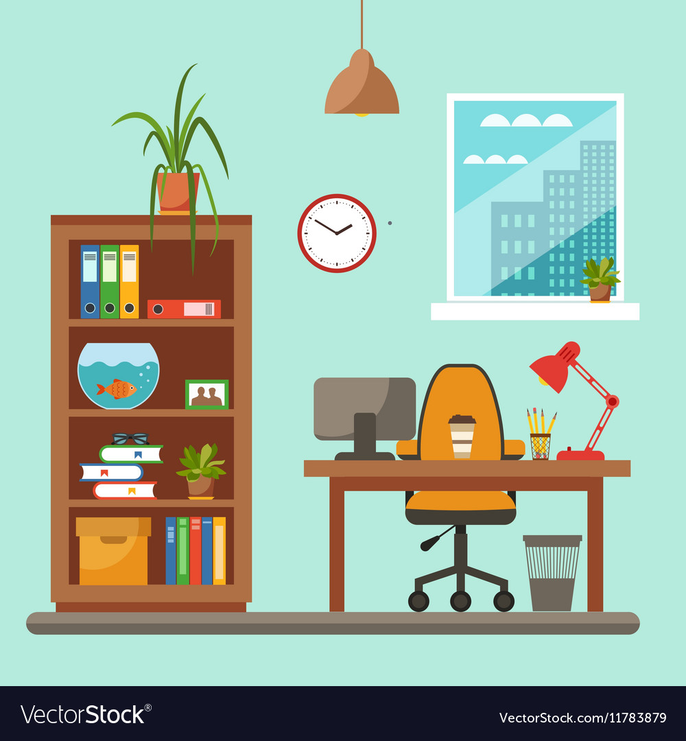 Attrayant Colorful Office Desk Closeup Concept Vector Image