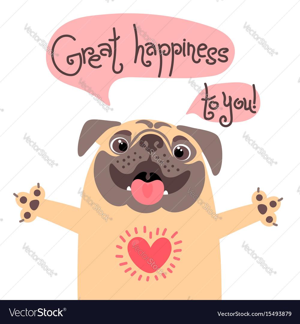 Greeting card with cute dog sweet pug