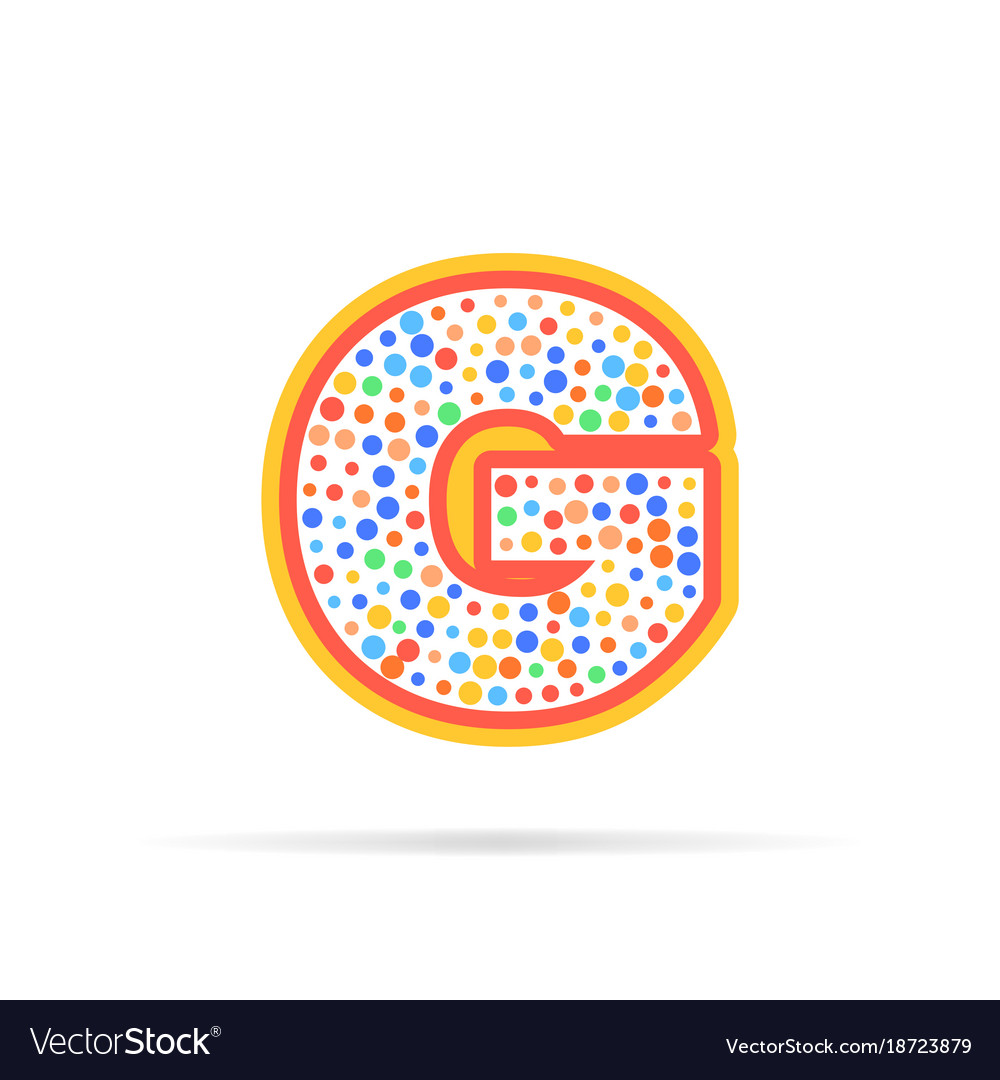 Letter g with group of dots icon