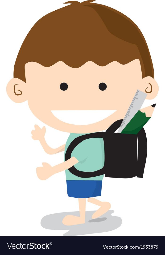 Little Boy Go To School vector image