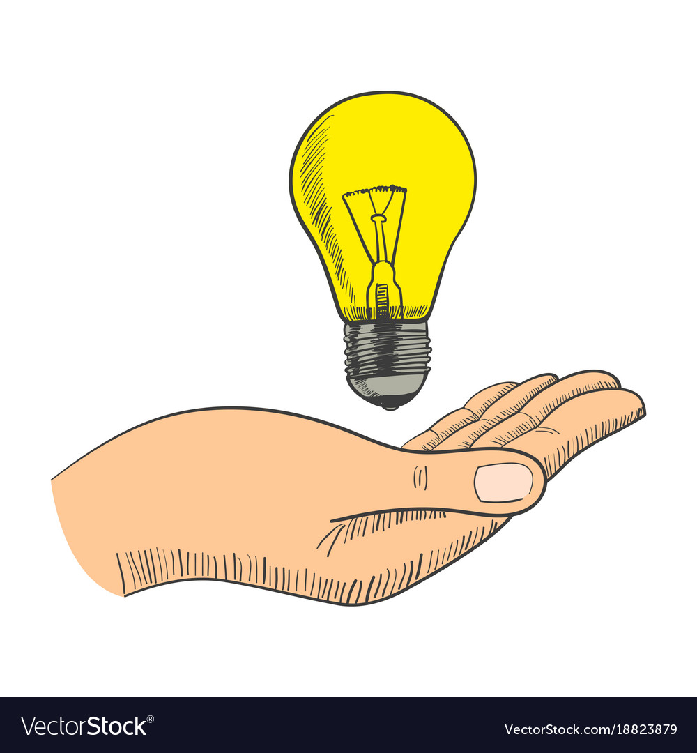 Simple graphic of a hand with light bulb