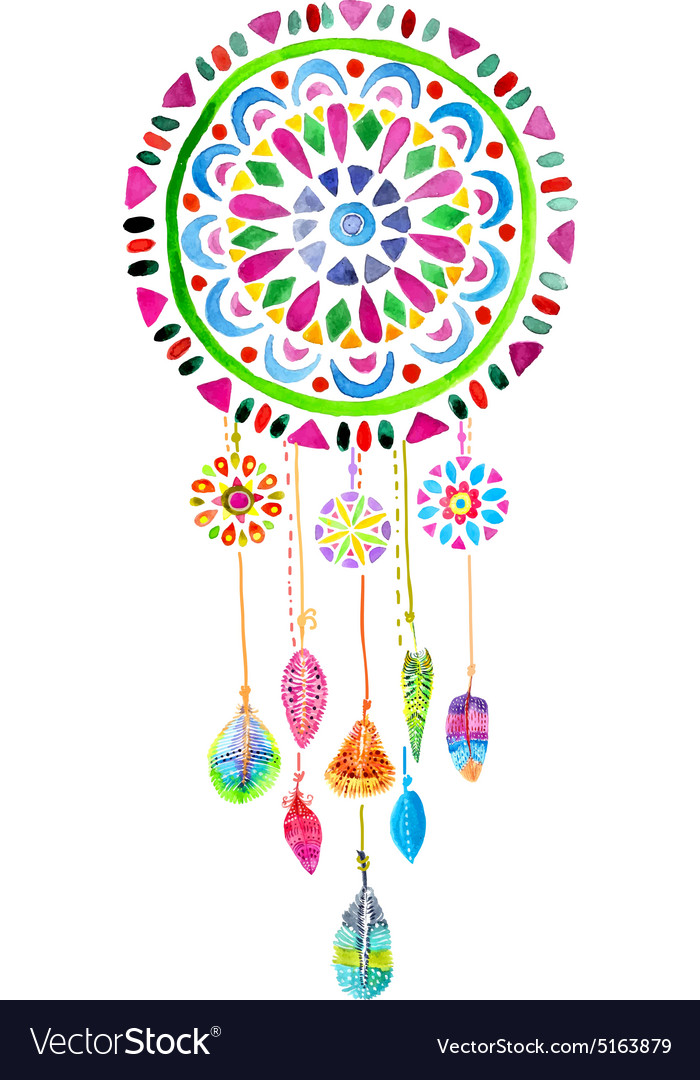 Dream Catcher Purpose Simple Watercolor Dreamcatcher Royalty Free Vector Image