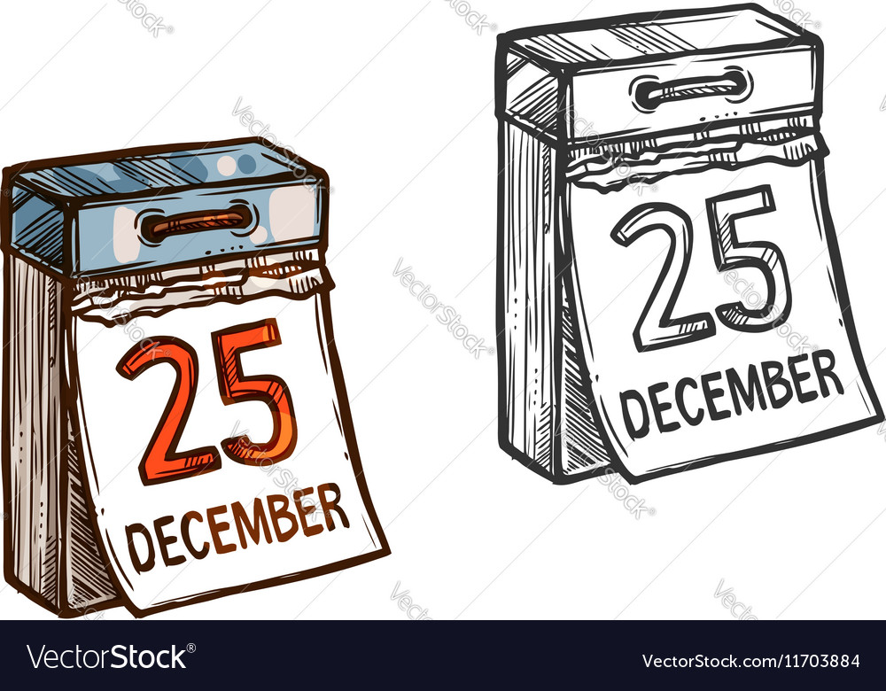 Christmas Date.Christmas Calendar Date Sketch Icon