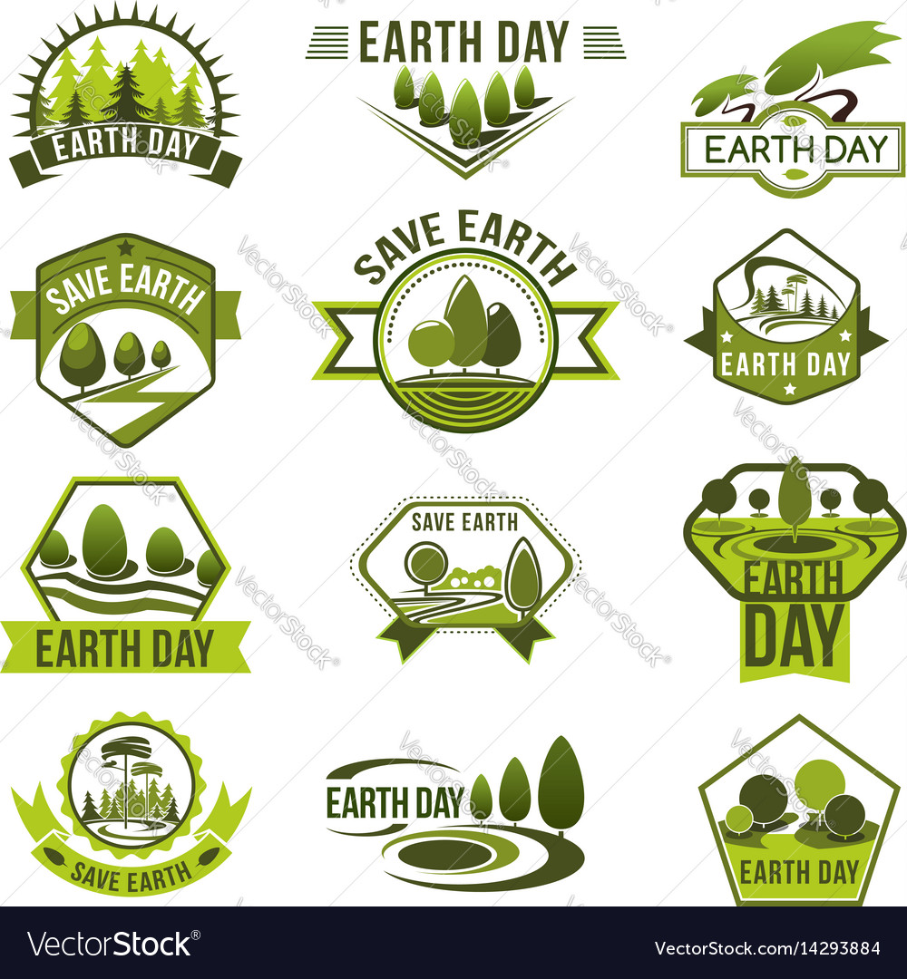 Eco green badge set for earth day design vector image
