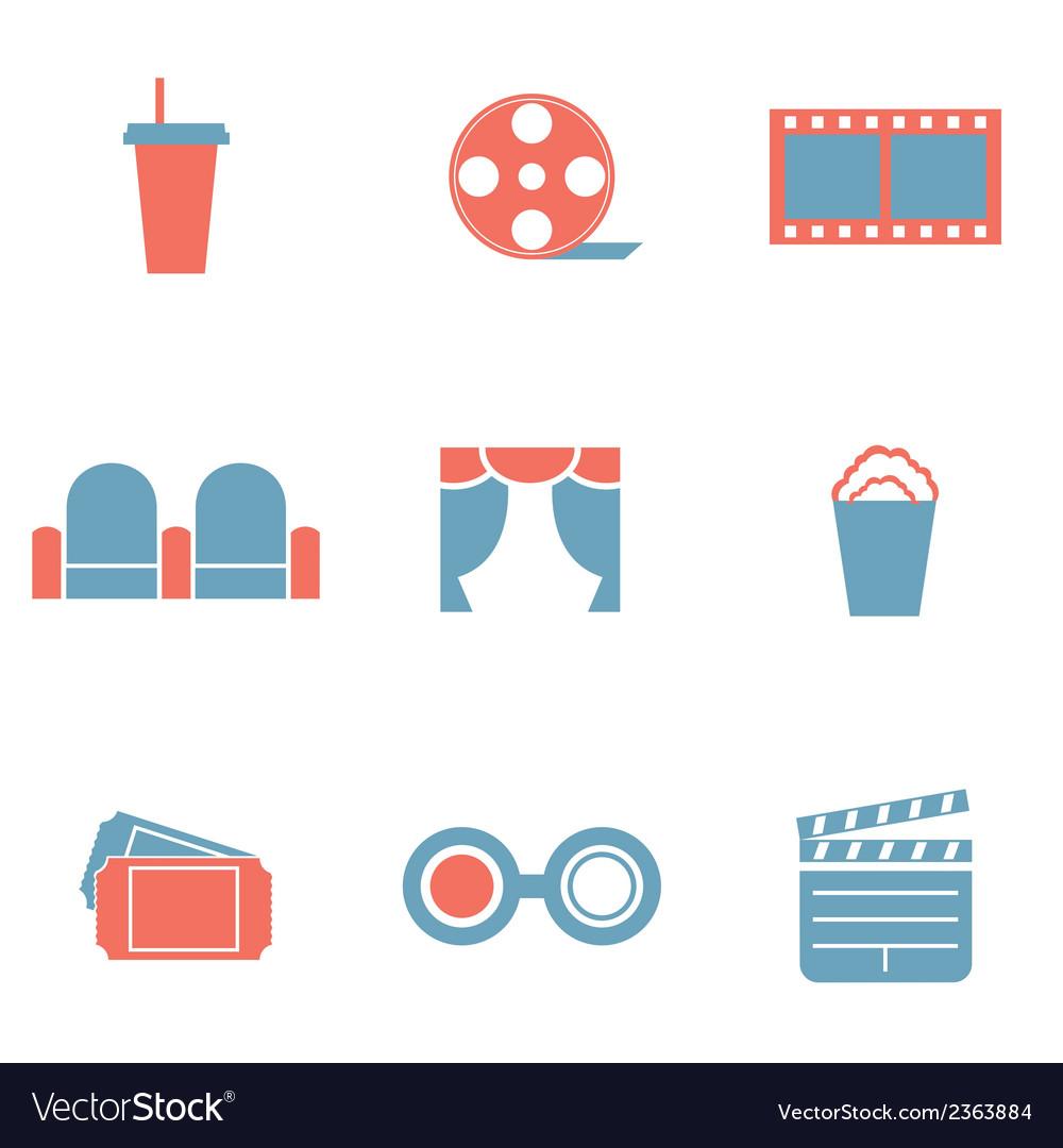 Flat Design Duotone Cinema Icons