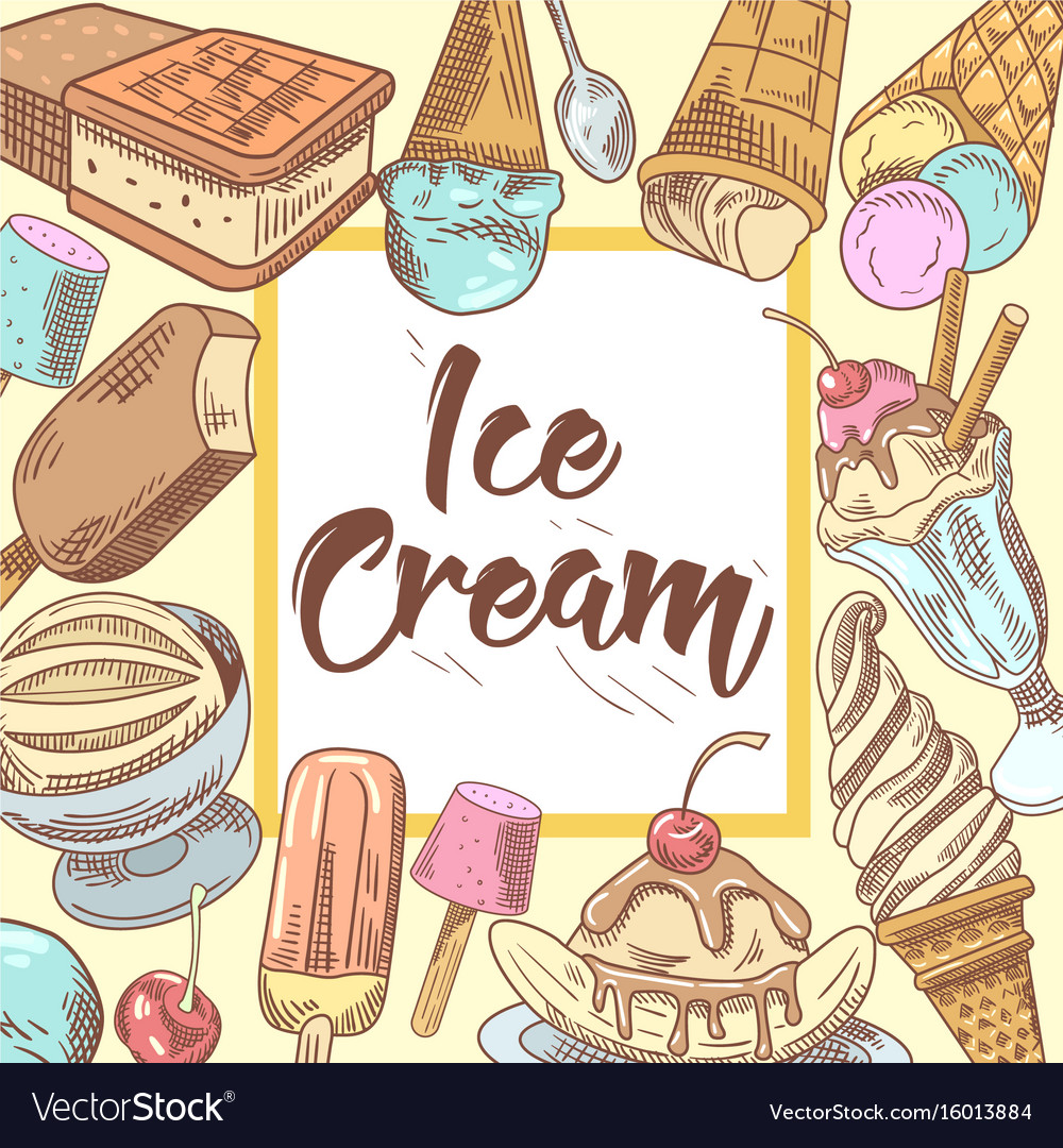 Ice cream hand drawn design with cold desserts vector image