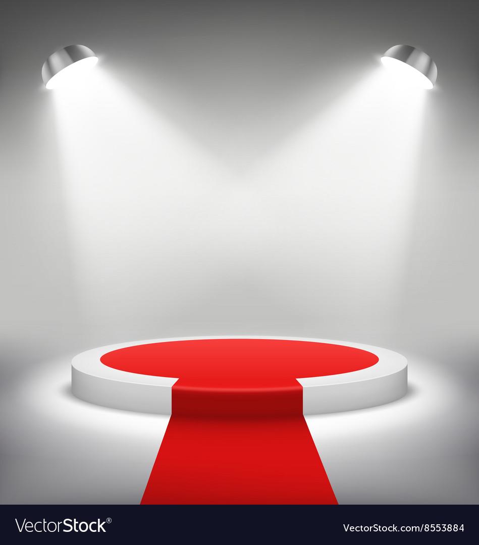 Illuminated Festive Stage Podium Scene with Red vector image