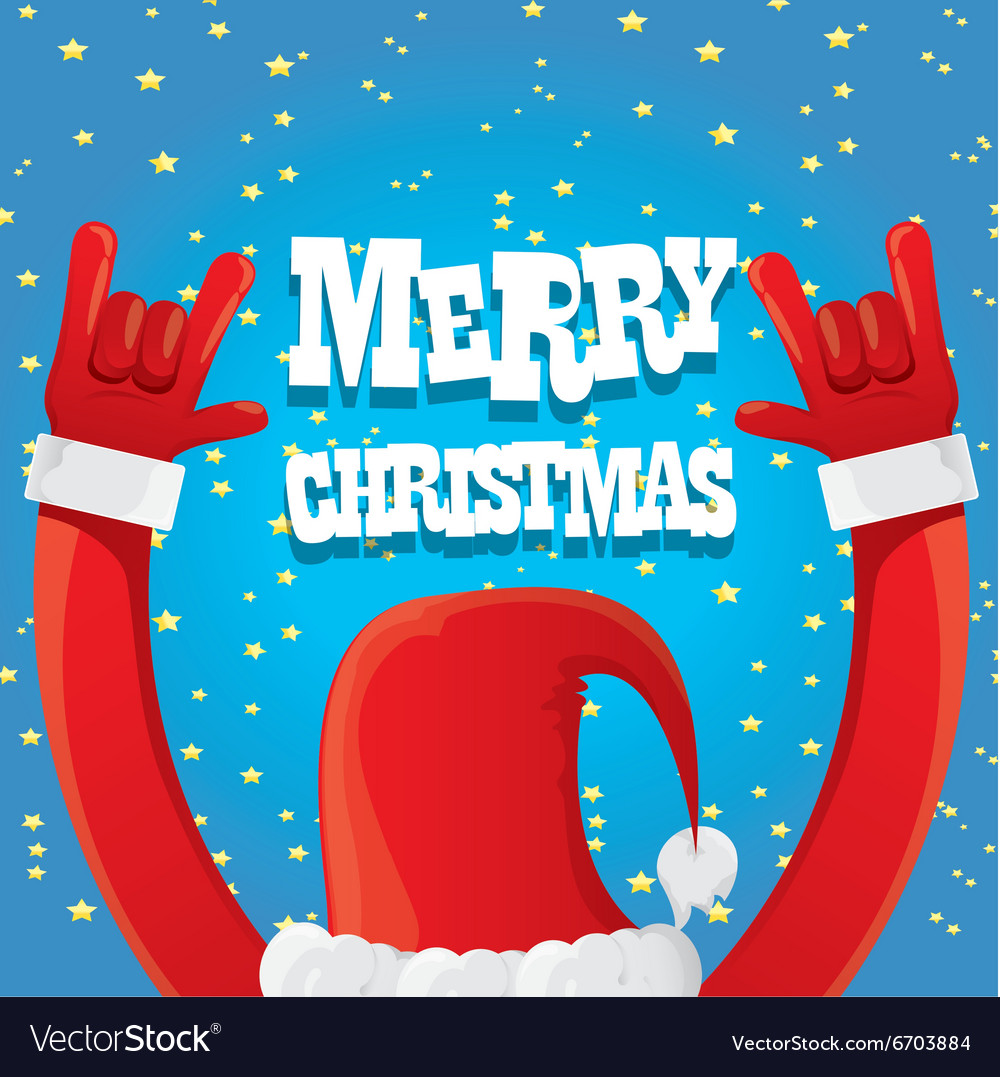 Santa Claus hand rock n roll vector image