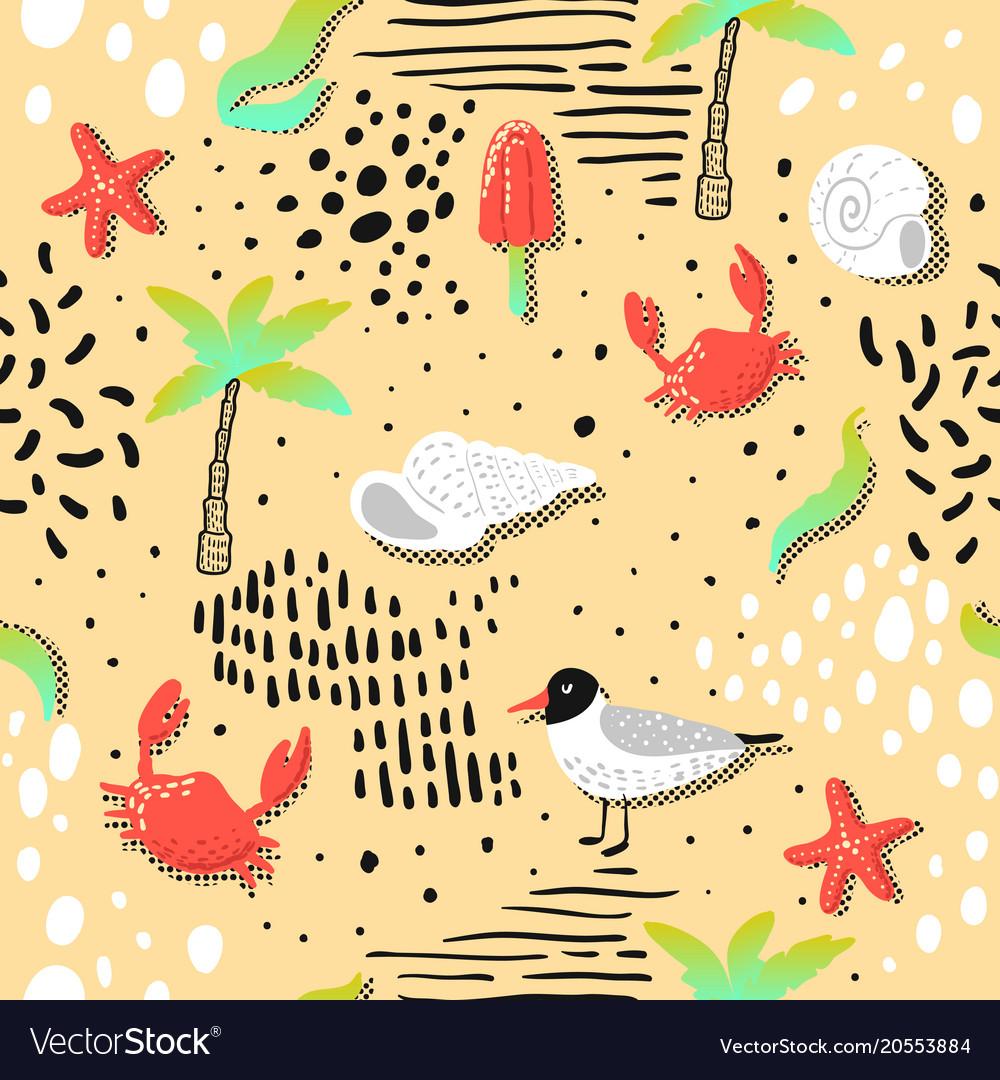 Summer beach vacation seamless pattern seagulls
