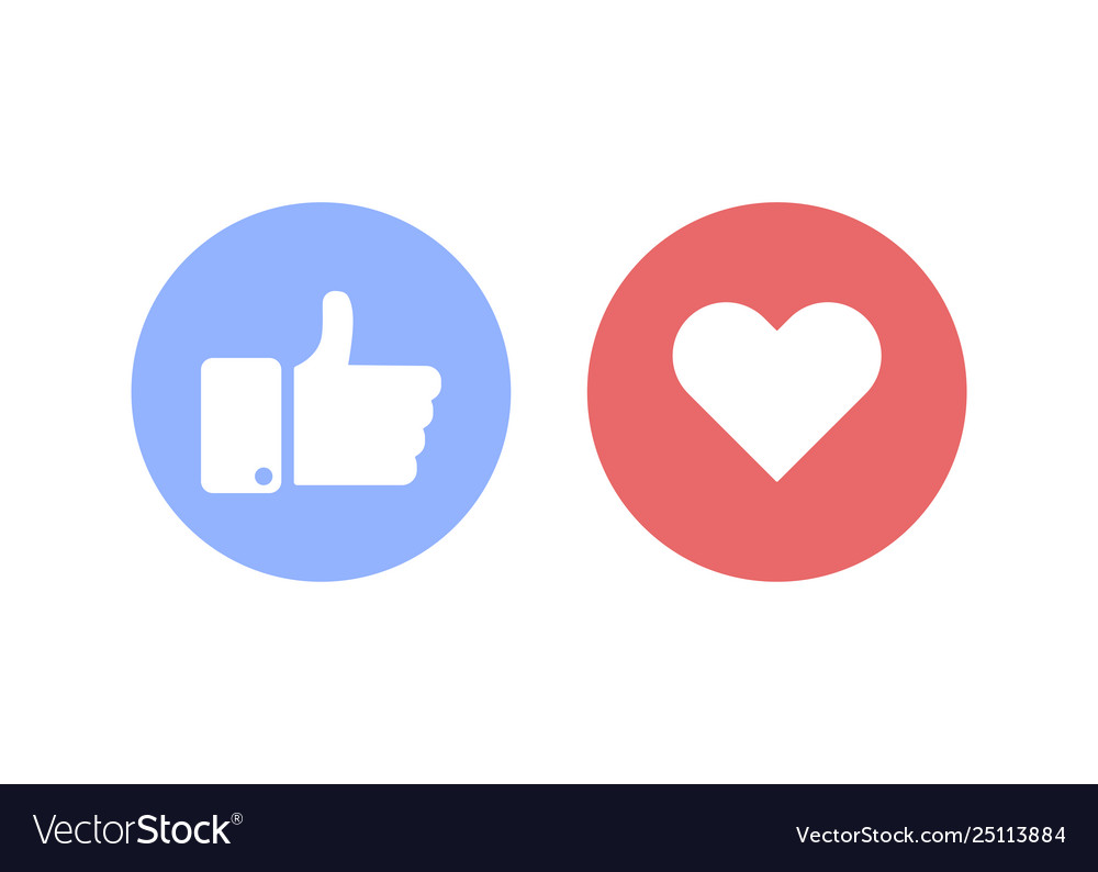 Thumbs up and heart social sign or icon