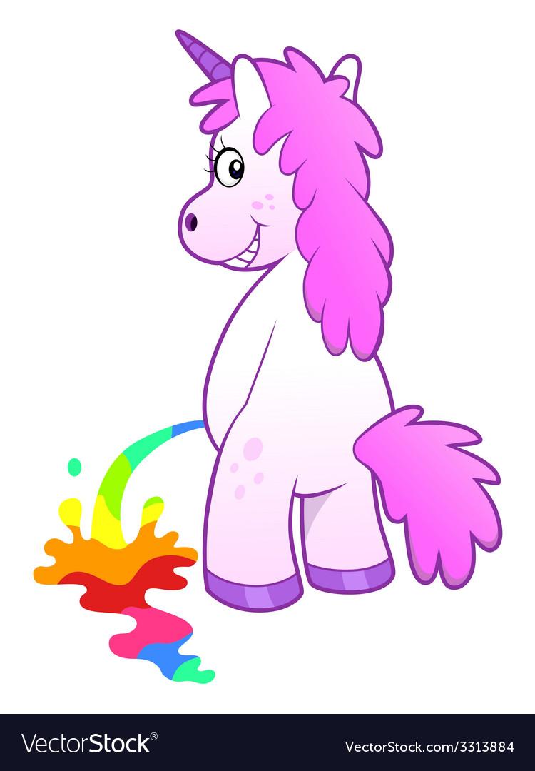 Unicorn pissing rainbow vector image