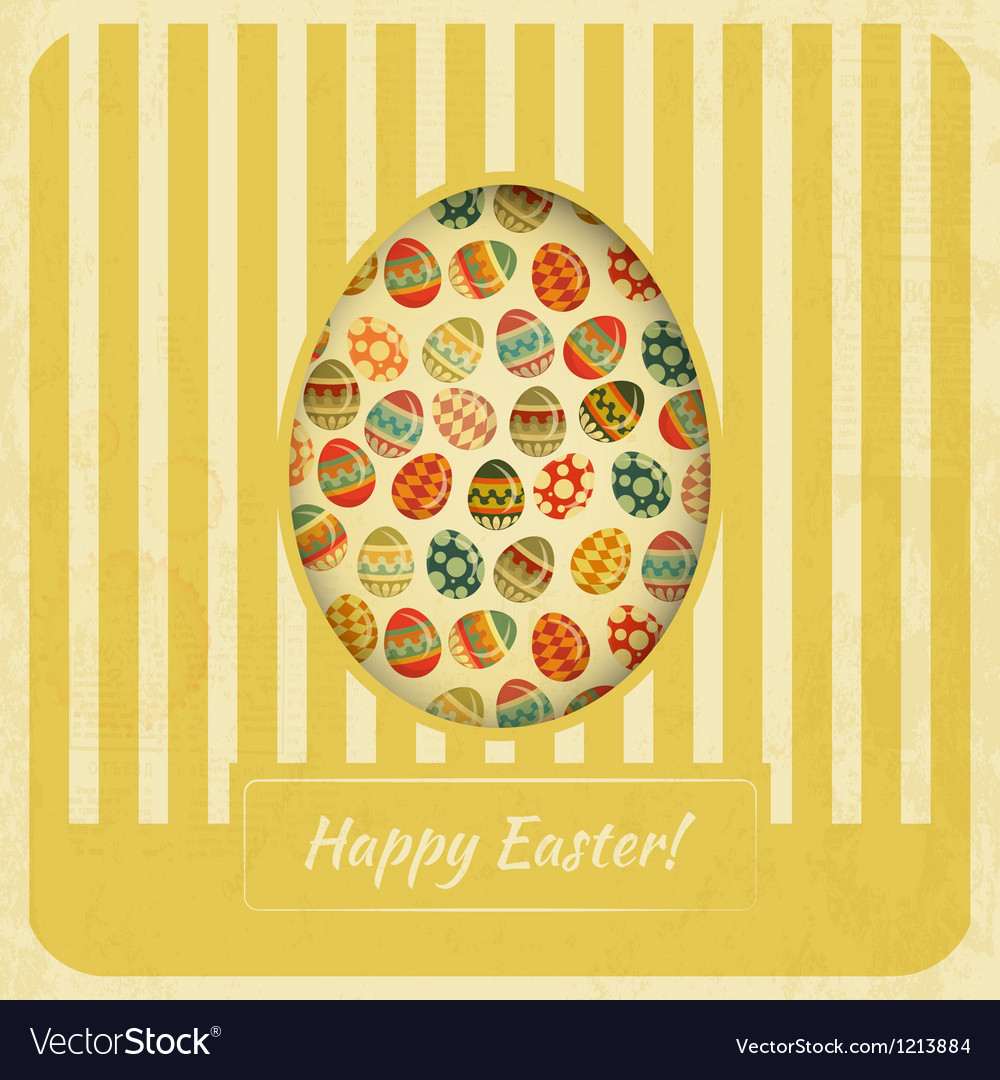 Vintage Yellow Easter Card vector image