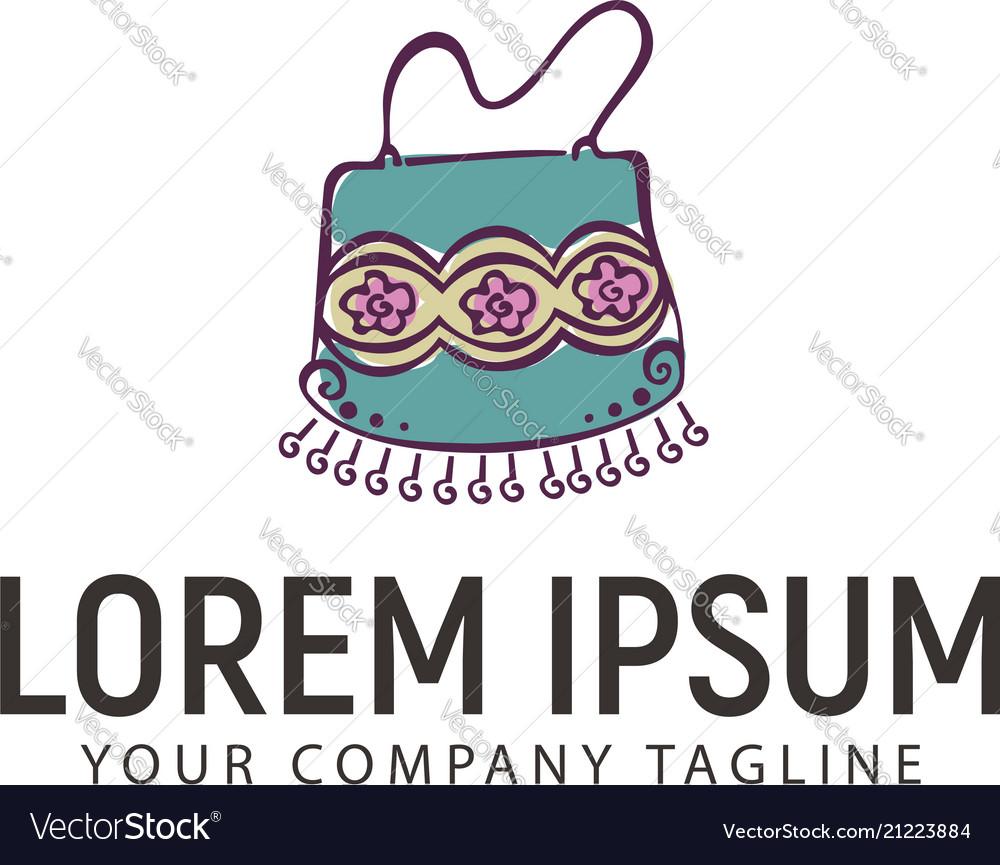 Women bag accessories logo hand drawn design