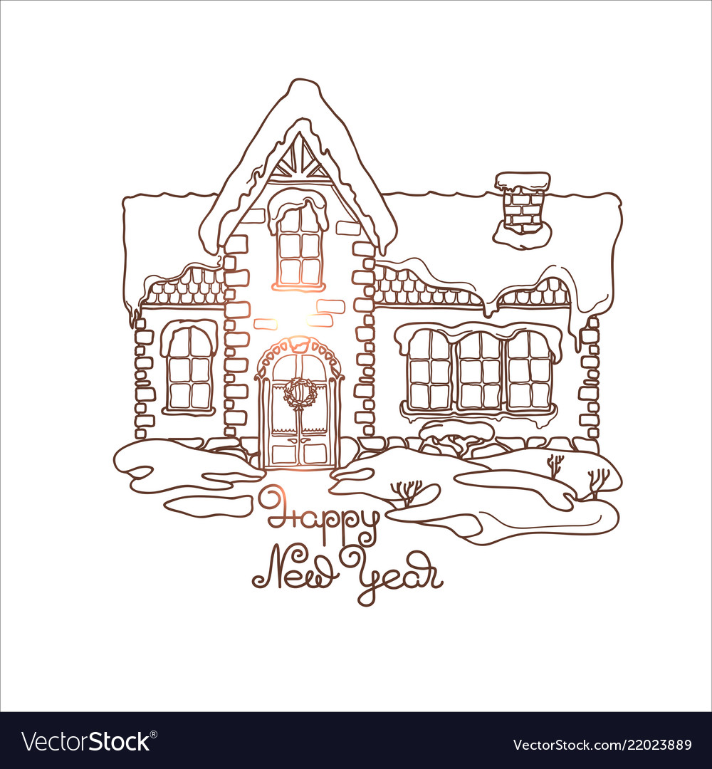 Christmas House Drawing.A Small Christmas House Under The Snow
