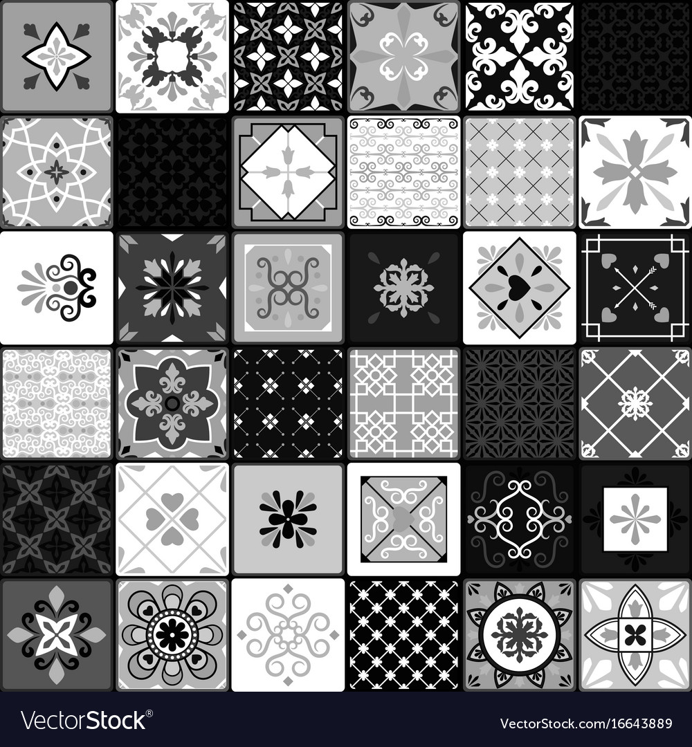 Black And White Modern Ceramic Tiles Royalty Free Vector