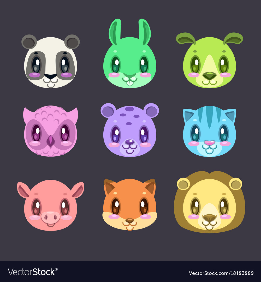 Cute cartoon colorful faces of different animals
