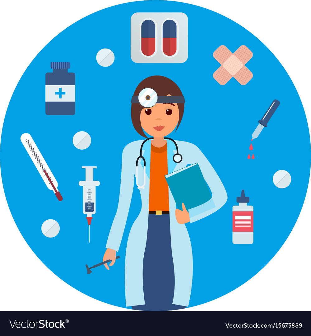 Doctor in medical gown with tool research results Vector Image