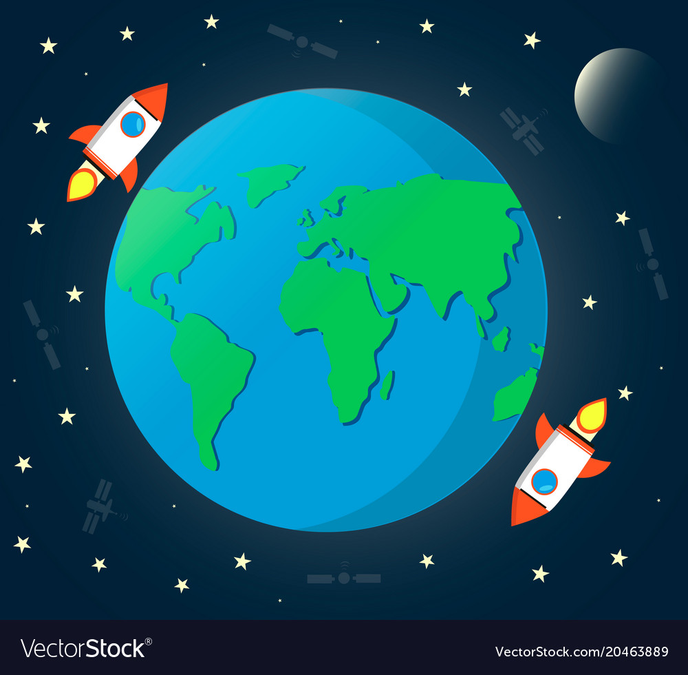 Earth space with moonrockets satellite and stars