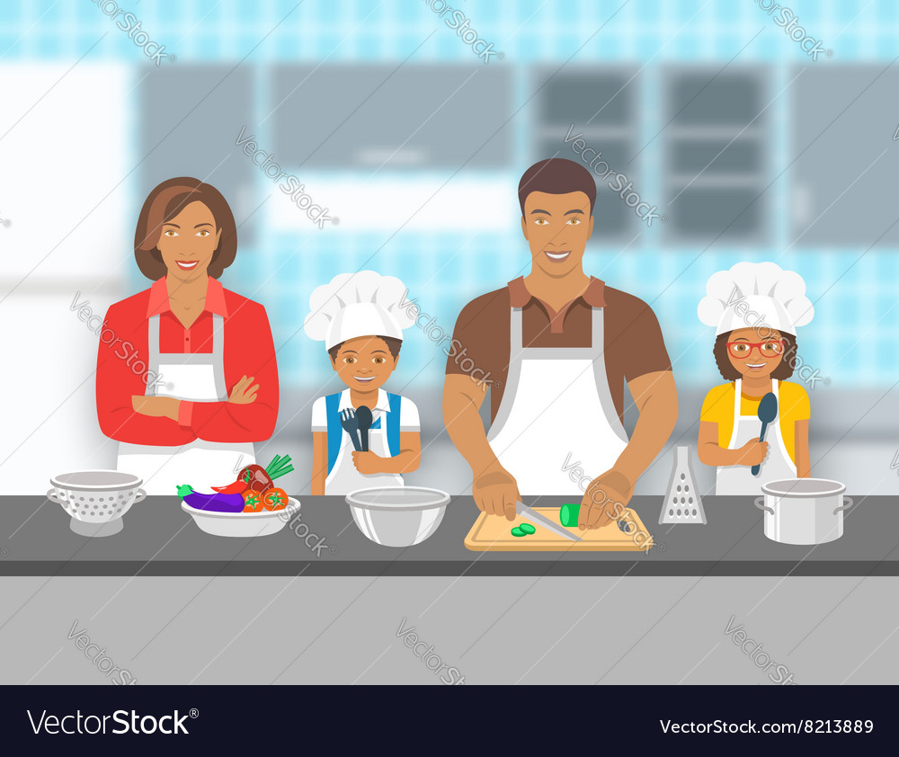 Family with kids cooking together at kitchen flat
