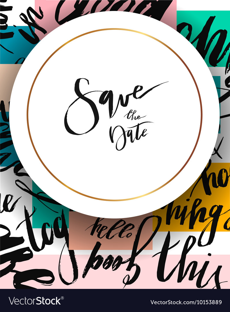 Hand drawn abstract Save the Date template Vector Image