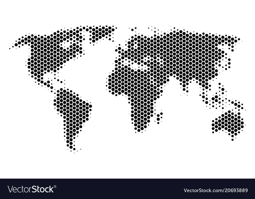 Hexagon halftone world map royalty free vector image hexagon halftone world map vector image gumiabroncs Gallery