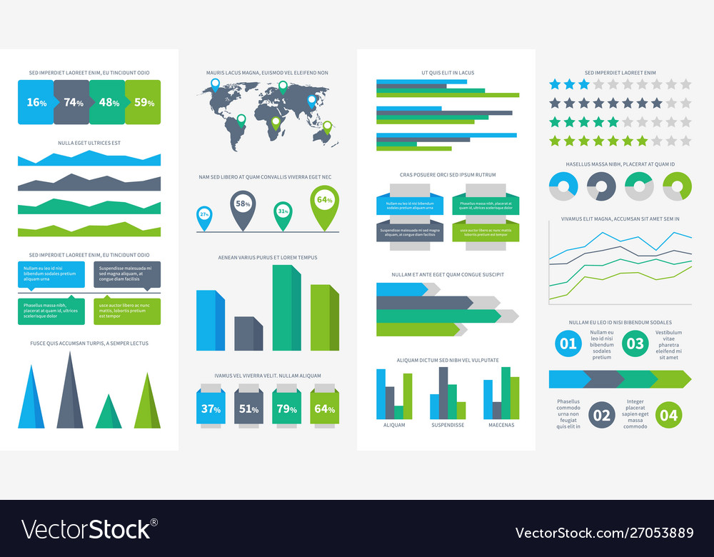 Infographics set charts diagrams and graphs