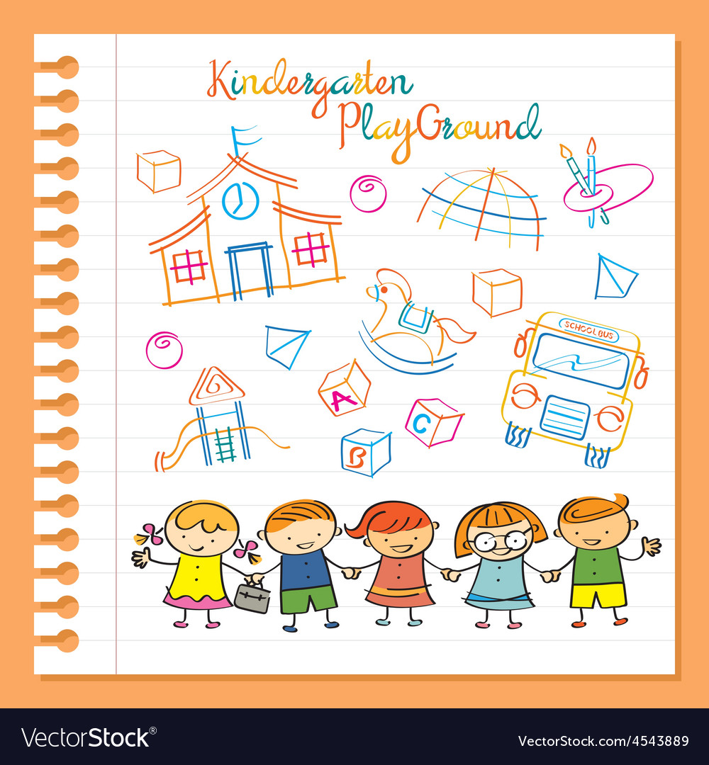 Kindergarten Kids Characters and Playground Set vector image