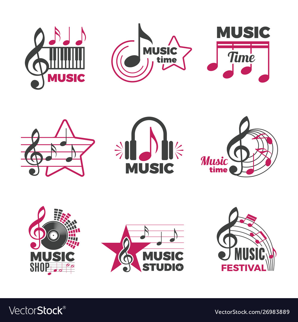 Music notes logo badges with song and sound