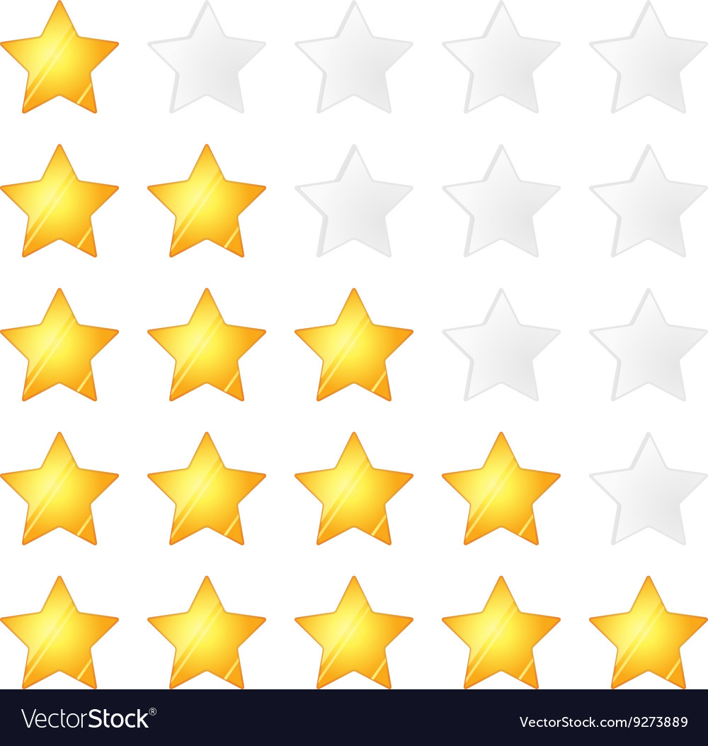 Set of five golden stars rating template on white