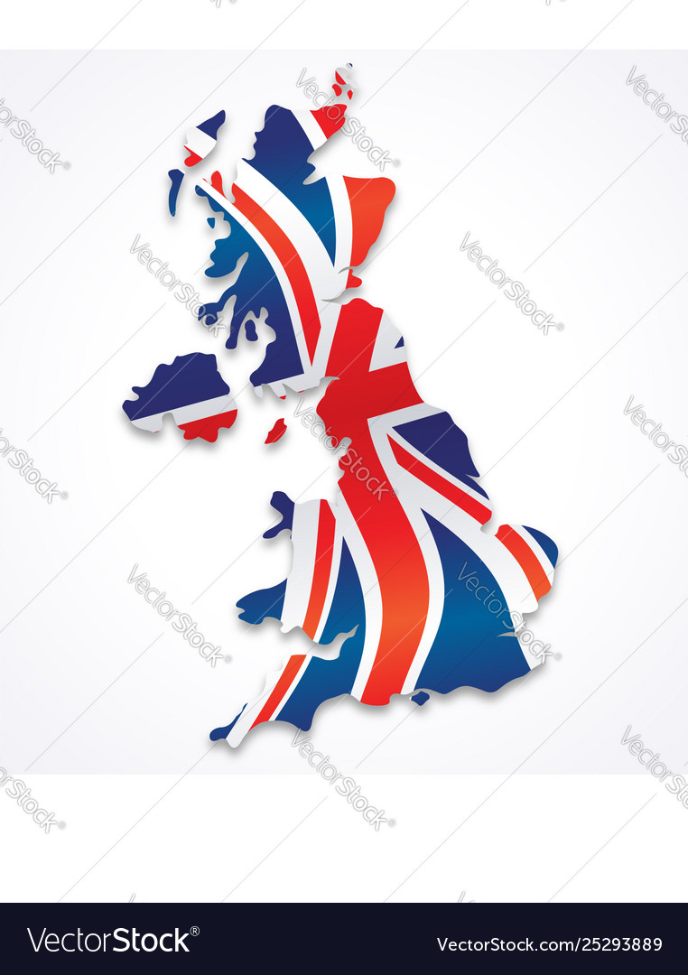 United kingdom great britain map with flag