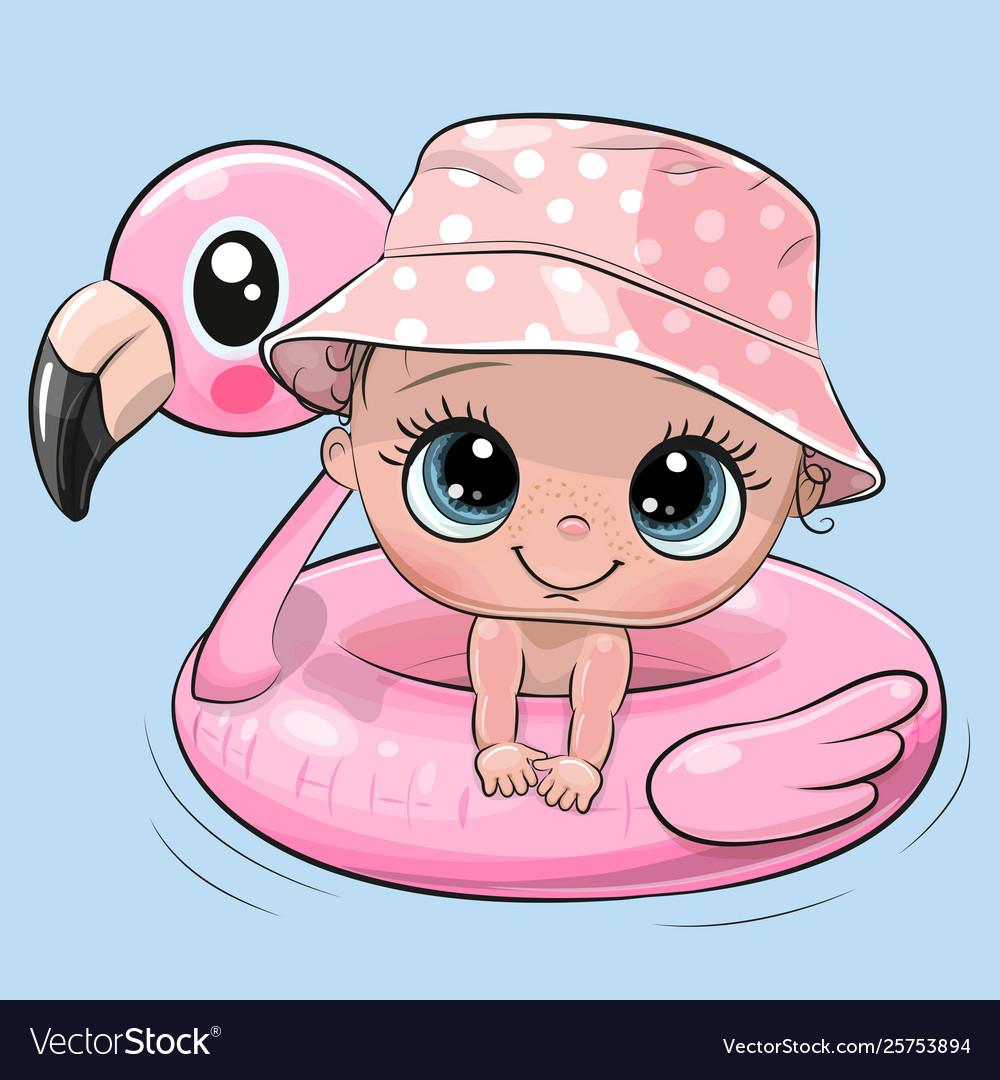 Cartoon bagirl swimming on pool ring