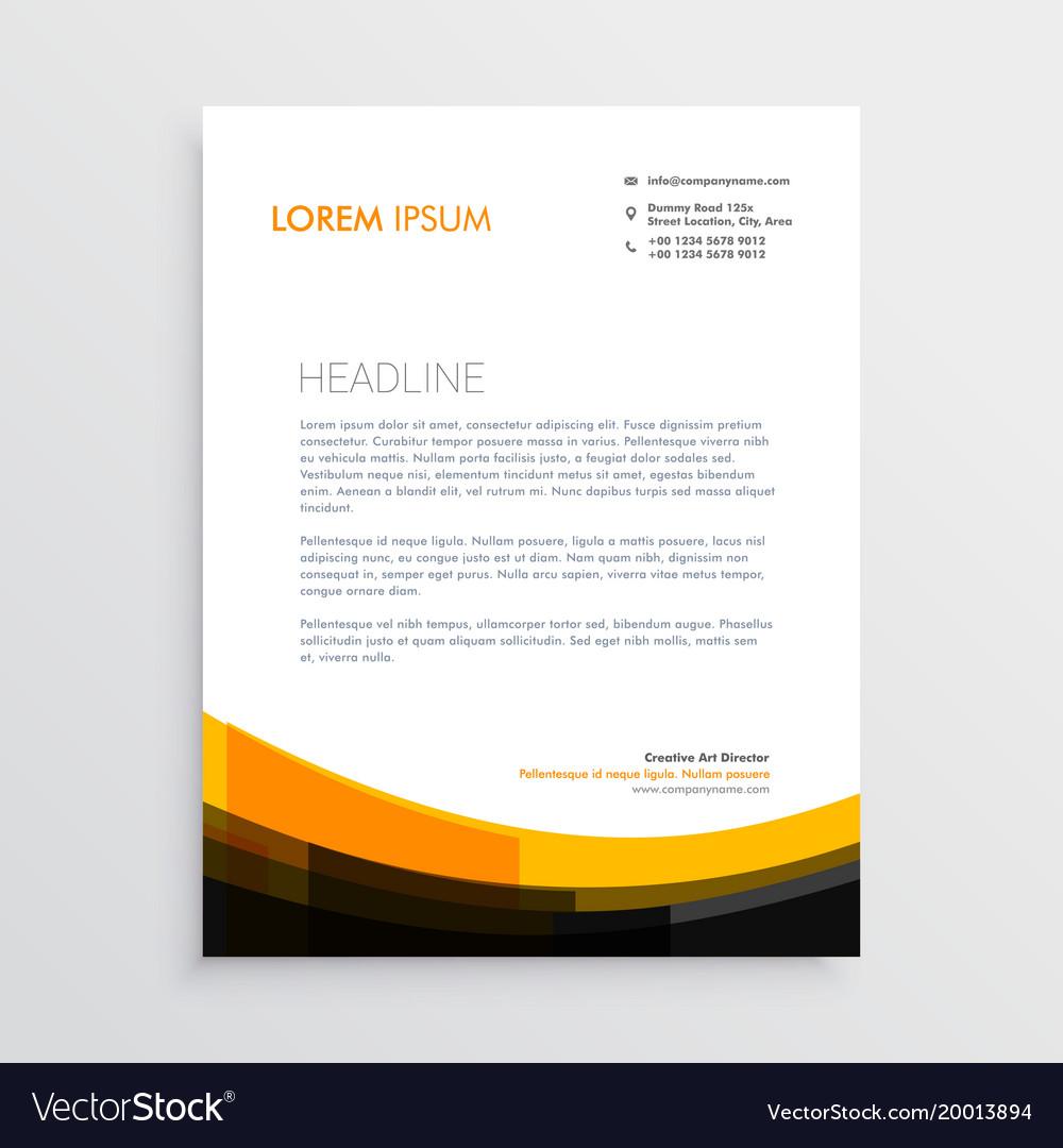 Elegant Orange Black Letterhead Design Vector Image