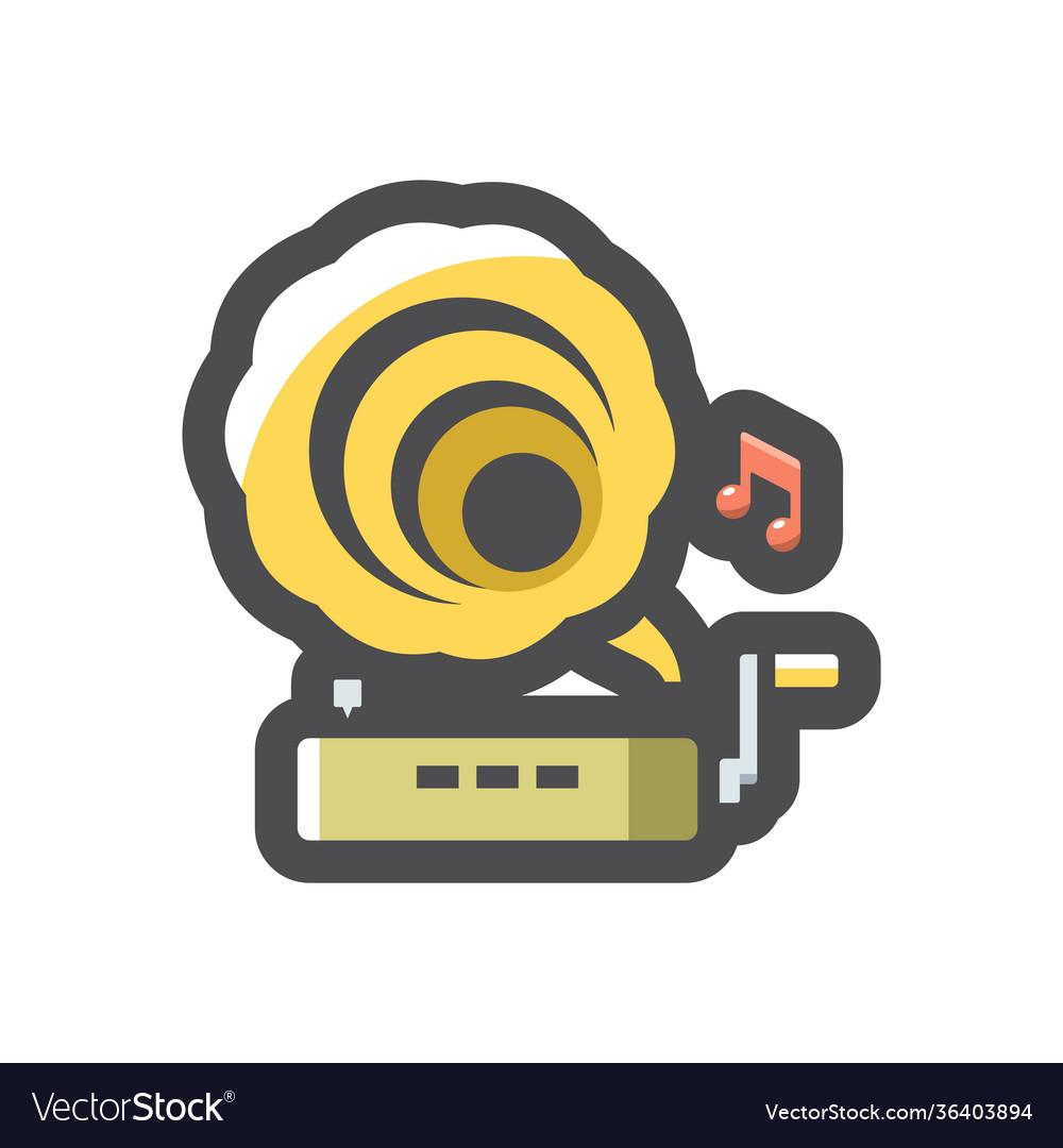 Gramophone musical equipment icon cartoon