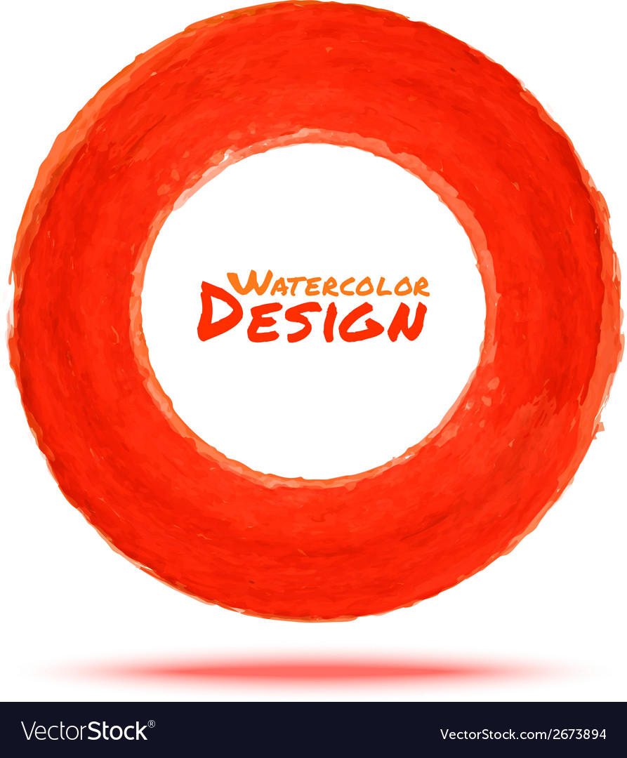 Hand drawn watercolor red circle design element