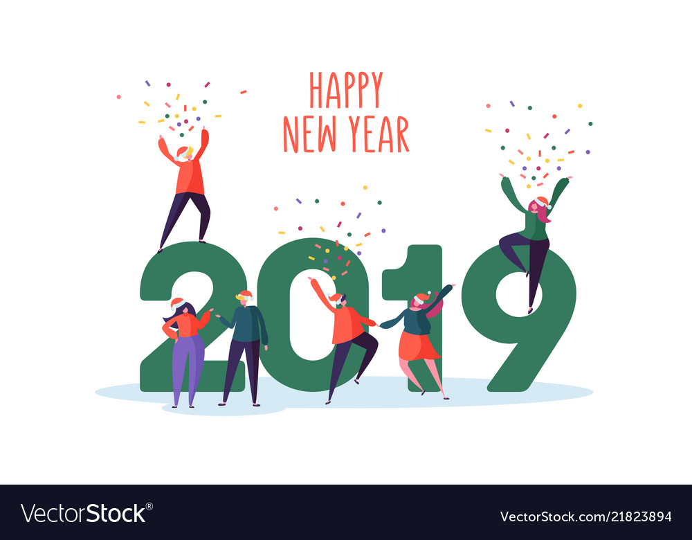 Happy new year 2019 greeting card flat people vector image m4hsunfo