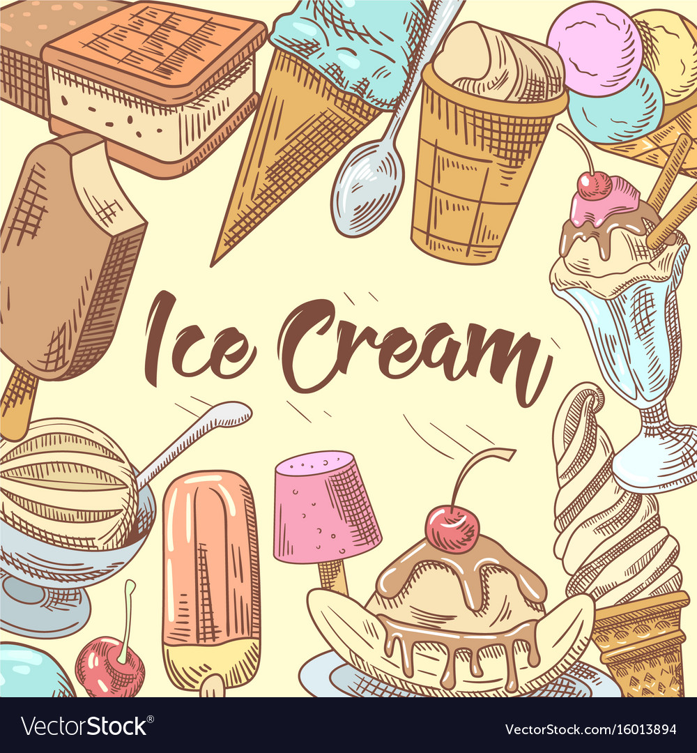 Ice cream hand drawn doodle vector image