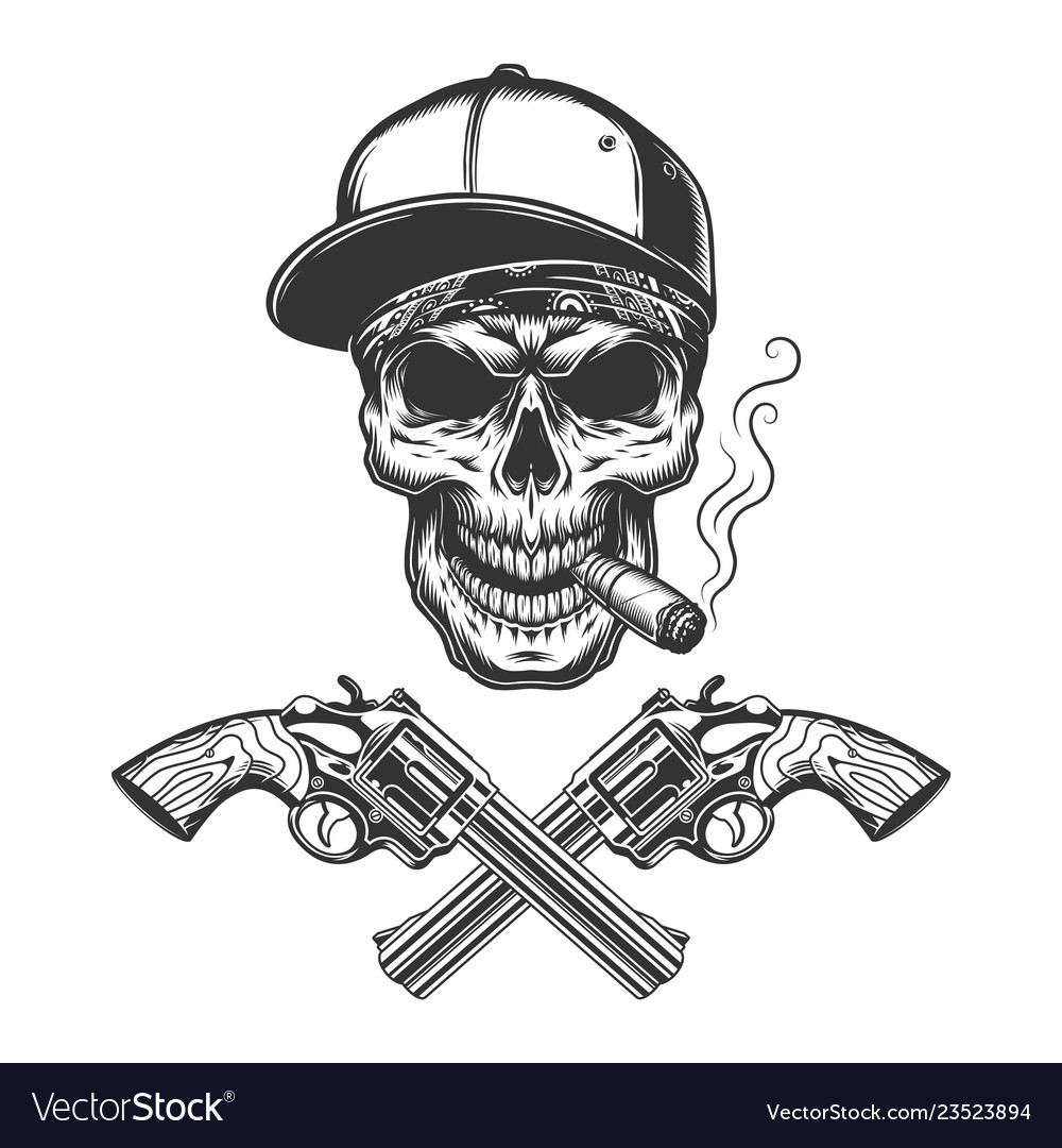 Vintage monochrome bandit skull smoking cigar