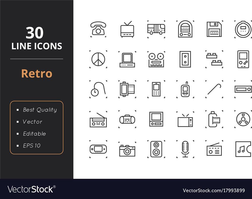 30 retro line icons