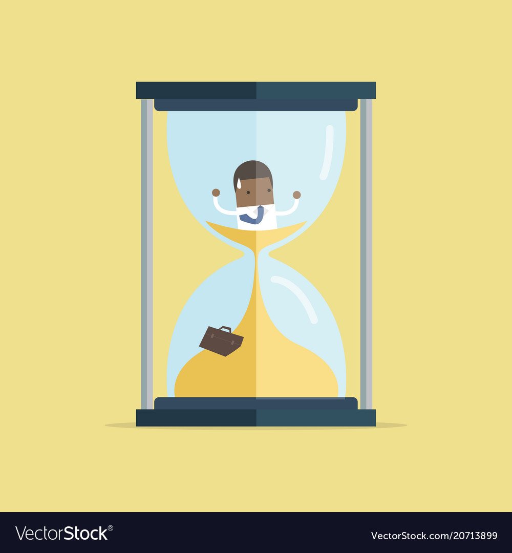 Businessman be trapped in hourglass