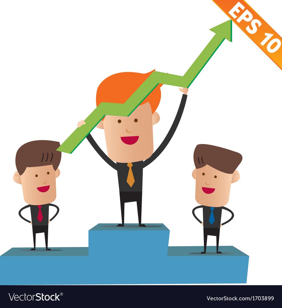 Cartoon business man on winner podium - - EP vector image