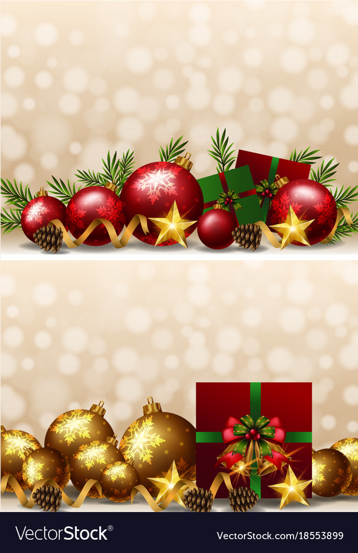 Christmas Ornaments Background.Christmas Background With Ornaments And Presents